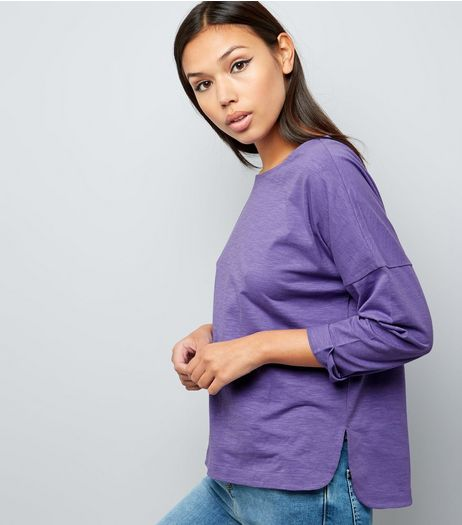 Purple 3/4 Sleeve Top  | New Look