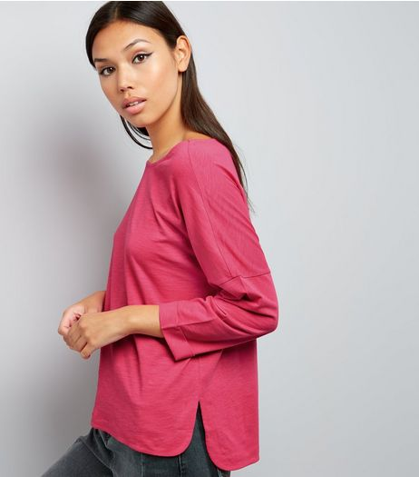 Bright Pink 3/4 Sleeve Top  | New Look