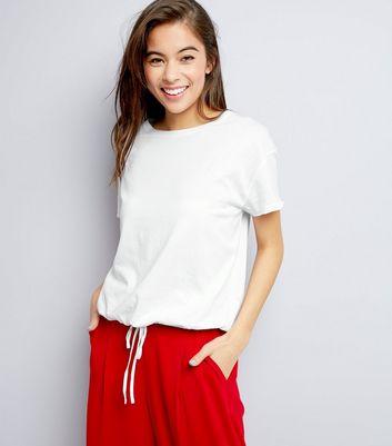 White Drawstring Hem T-Shirt