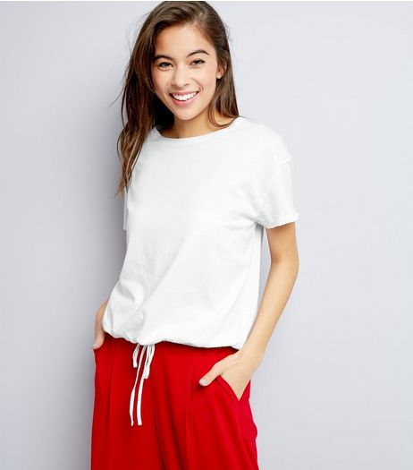 White Drawstring Hem T-Shirt  | New Look