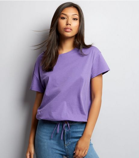 Purple Drawstring Hem T-Shirt  | New Look