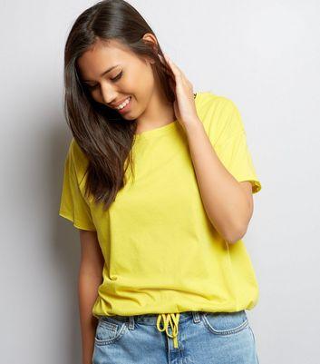 Yellow Drawstring Hem T-Shirt