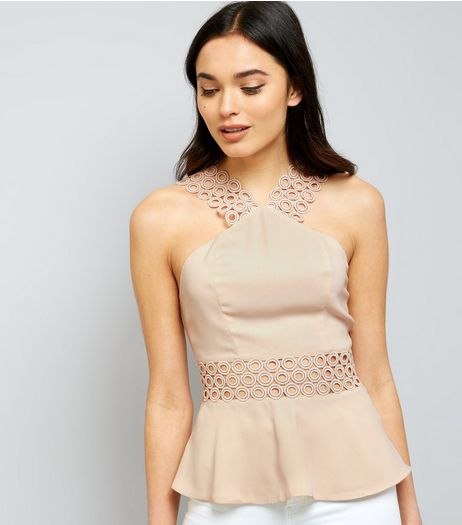 Shell Pink Cut Out Peplum Hem Top | New Look