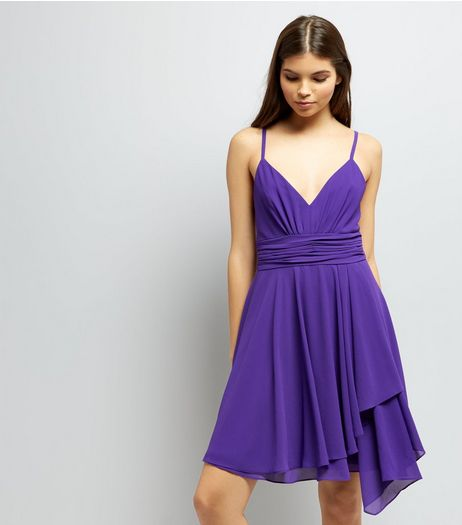 Purple Asymmetric Hem Chiffon Prom Dress  | New Look