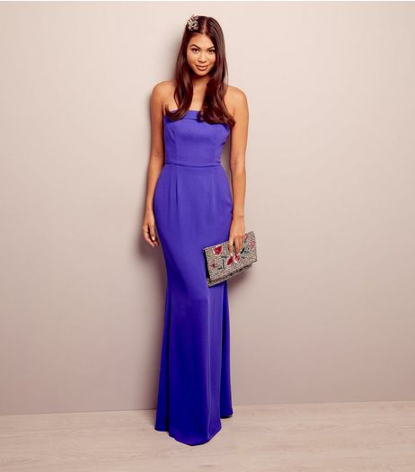 Purple Bardot Maxi Bridesmaid Dress | New Look