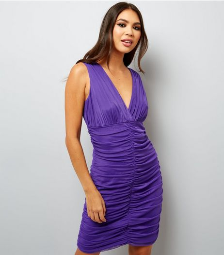 Purple V Neck Ruched Bodycon Dress  | New Look