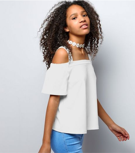 Teens White Crepe Scuba Bardot Neck Cold Shoulder Top | New Look