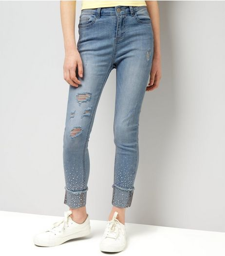 Teens Blue Gem Studded Skinny Jeans | New Look