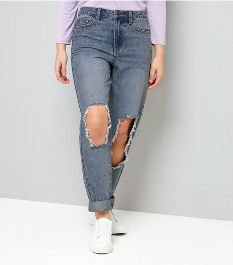 Teens Blue Ripped Knee Mom Jeans | New Look