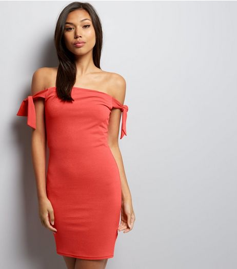 Red Tie Shoulder Bodycon Dress | New Look