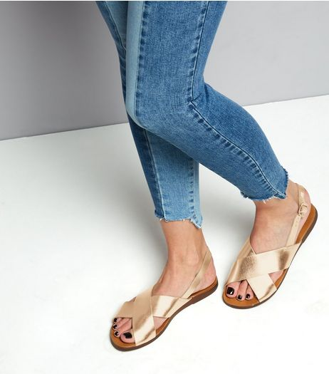 Wide Fit Rose Gold Leather Cross Strap Sandals | New Look