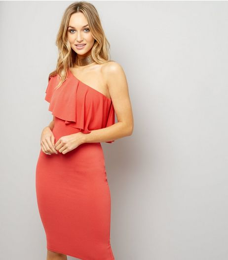 Red Frill Trim One Shoulder Bodycon Dress | New Look