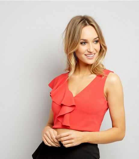 Red Asymmetric V Neck Frill Trim Crop Top  | New Look