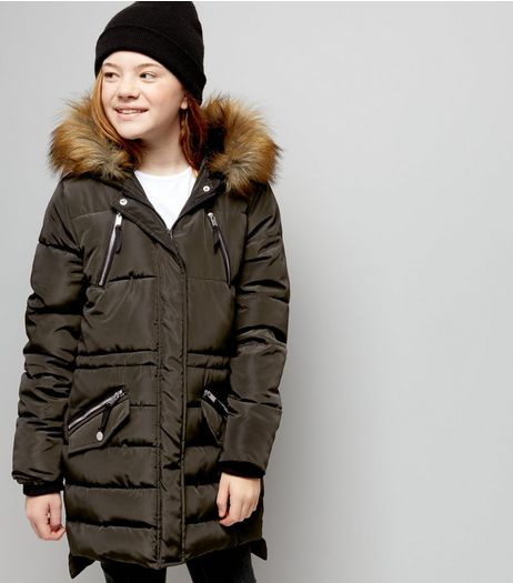 Teens Khaki Faux Fur Trim Padded Longline Coat | New Look