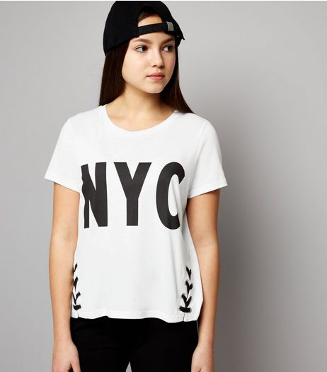 Teens White NYC Lace Up Hem T-Shirt | New Look
