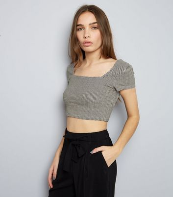 Black Stripe Square Neck Crop Top