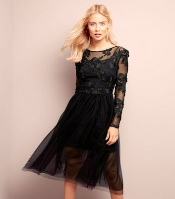 Black Floral Lace Tulle Prom Dress