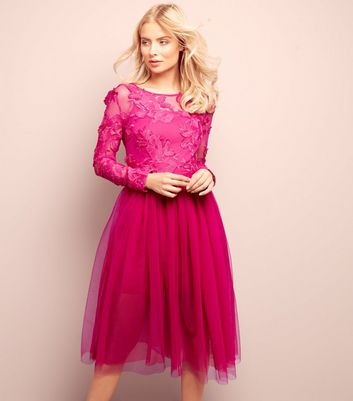 Bright Pink 2 in 1 Floral Lace Tulle Dress
