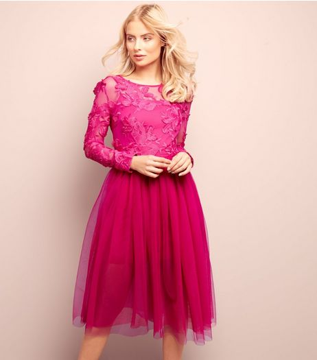Bright Pink 2 in 1 Floral Lace Tulle Dress  | New Look