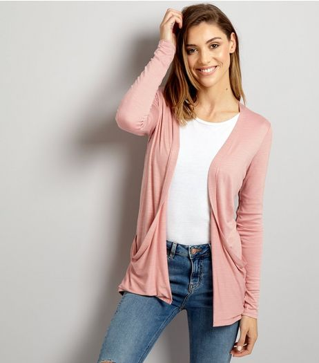 Pink Double Pocket Boyfriend Cardigan  | New Look