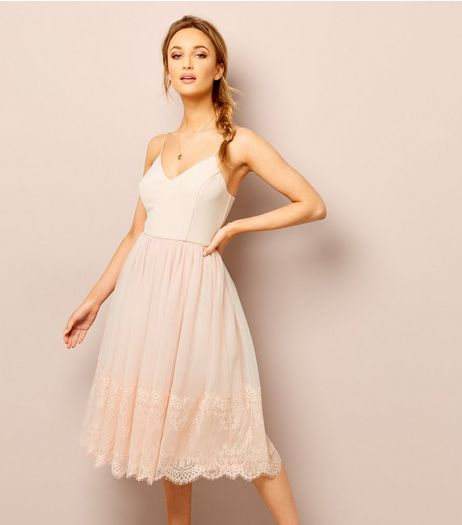 Shell Pink Premium Lace Trim Tulle Midi Dress | New Look