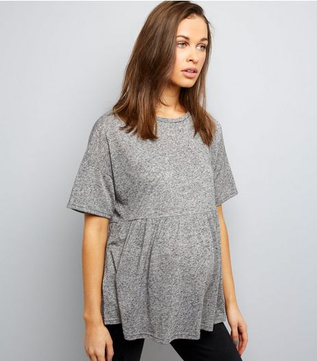 Maternity Grey Jersey Peplum Top | New Look