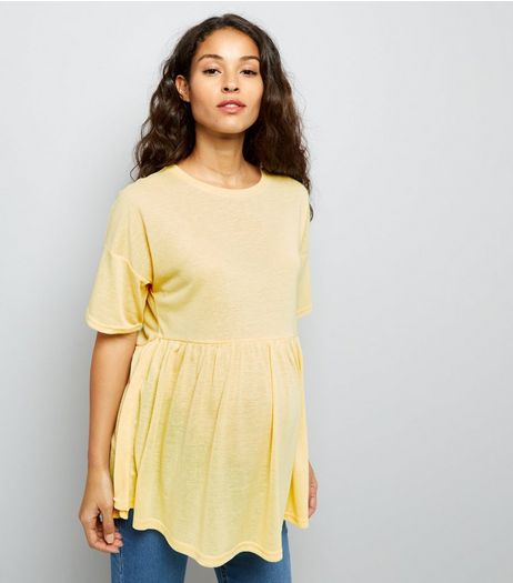 Maternity Yellow Jersey Peplum Top | New Look