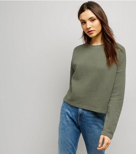 Khaki Ribbed Batwing Sleeve Cropped Sweater  | New Look