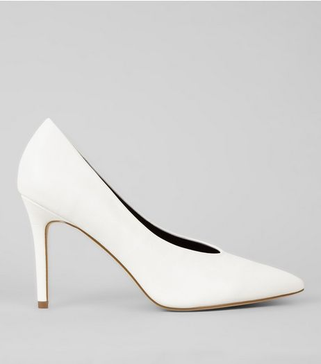 White V Front Pointed Court Shoes | New Look