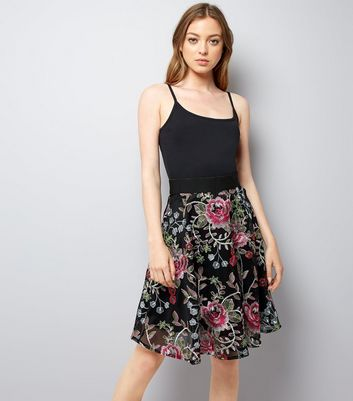 Black Floral Embroidered Mesh Skater Skirt