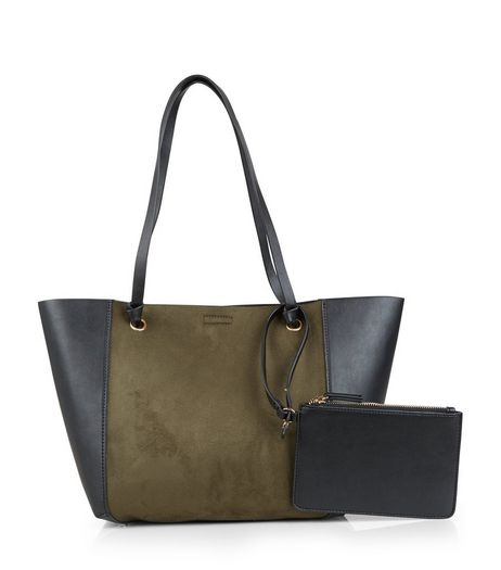 Khaki Suedette Panel Tote Bag | New Look