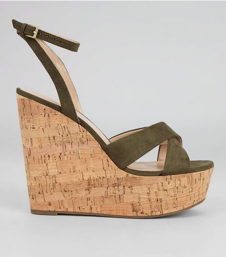 Khaki Suedette Cork Wedge Heels | New Look