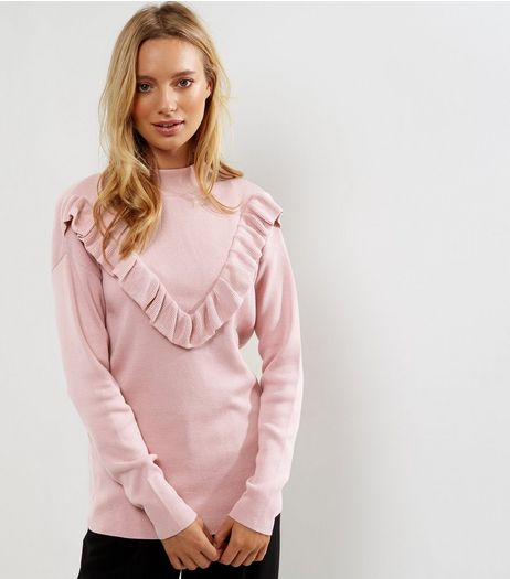Tall Pink Ruffle Front Jumper | New Look