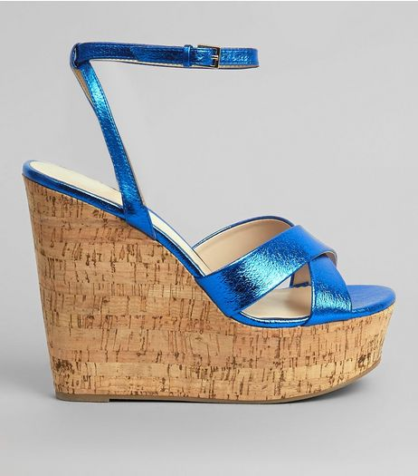 Blue Cross Strap Cork Wedge Heels | New Look