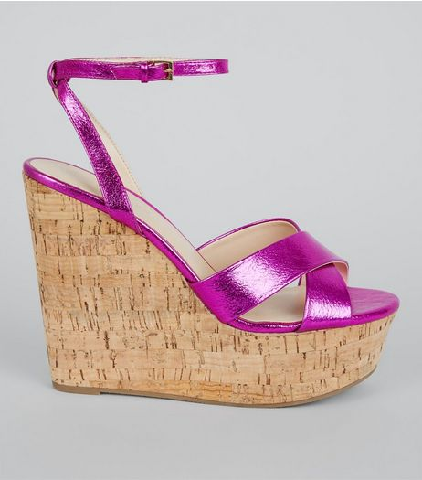 Pink Cross Strap Cork Wedge Heels | New Look