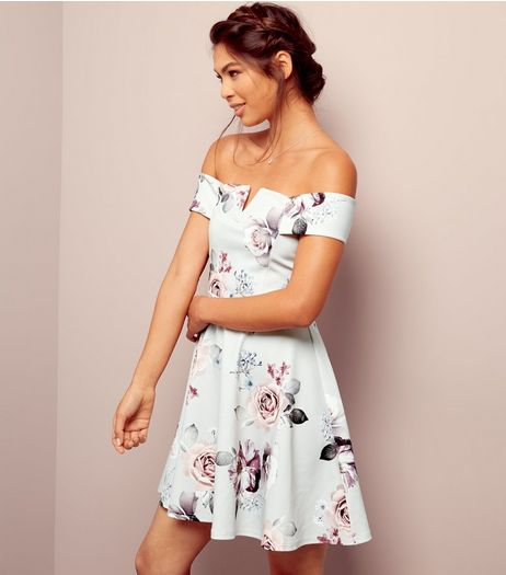 Grey Floral Print Bardot Neck Skater Dress | New Look