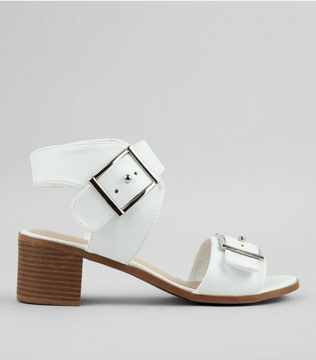 White Buckle Strap Sandals | New Look