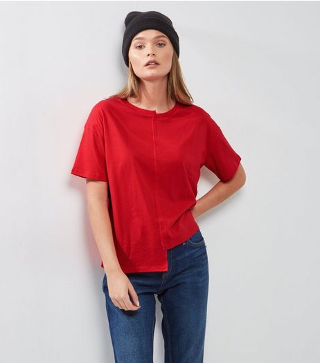 Red Asymmetric Spliced T-Shirt | New Look