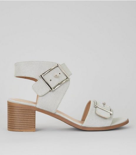 Grey Suedette Buckle Strap Low Block Heels | New Look
