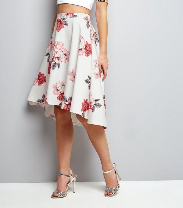 White Floral Dip Hem Midi Skirt