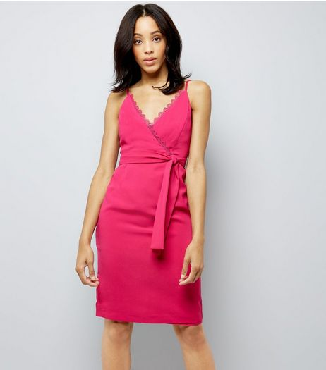 Pink Wrap Front Lace Trim Bodycon Dress | New Look