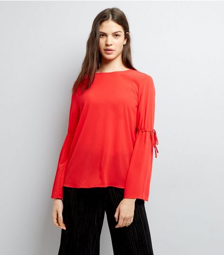 Red Tie Sleeve Top | New Look