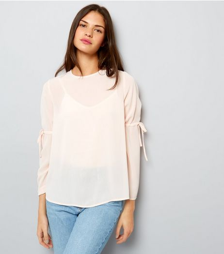 Shell Pink Tie Sleeve Top  | New Look