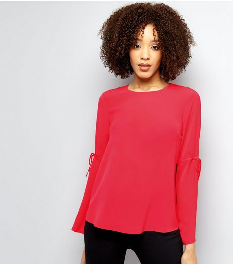 Bright Pink Tie Sleeve Top | New Look