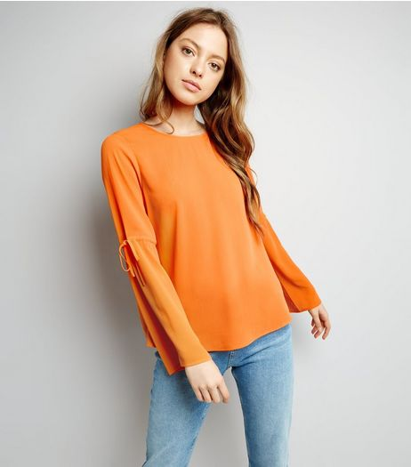 Bright Orange Tie Sleeve Top  | New Look