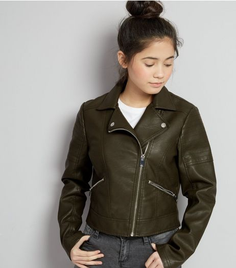 Teens Khaki Leather-Look Jacket  | New Look