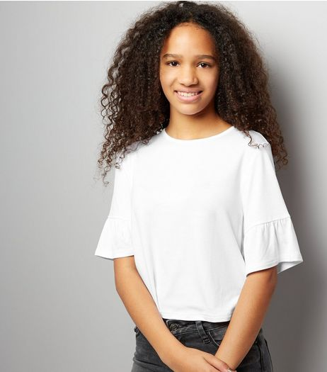 Teens White Frill Trim T-Shirt | New Look