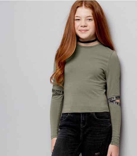 Teens Khaki Split Sleeve NYC Print Top | New Look