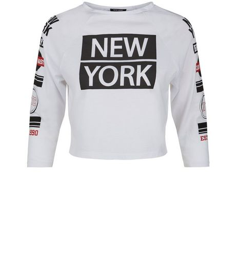 Teens White New York Print Crop Top  | New Look