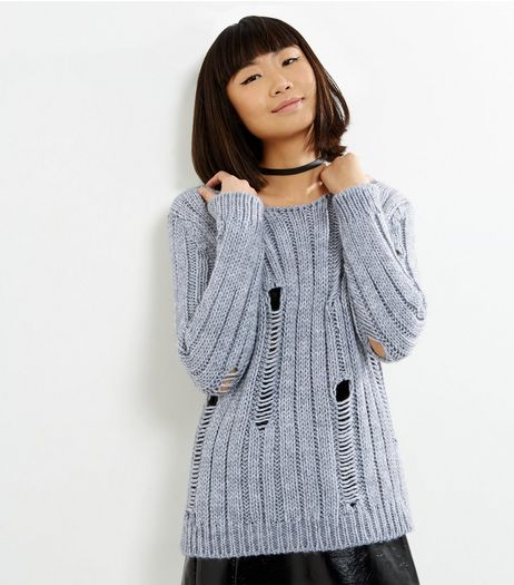 Loving This Grey Ribbed Ladder Knit Jumper | New Look
